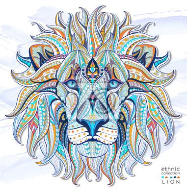 Sticker Motif de la tête du lion sur le fond grunge. Conception africaine / indienne / totem / tatouage. Il peut être utilisé pour la conception d'un t-shirt, un sac, une carte postale, une affiche et ainsi d