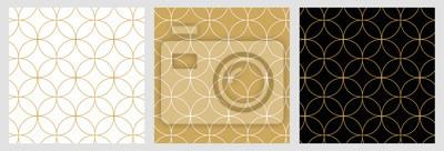 Sticker Motif de lignes sans soudure cercle géométrique moderne abstrait pour élégant fond doré de Noël