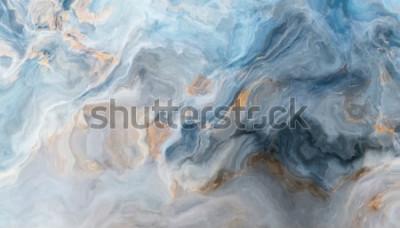 Sticker Motif de marbre bleu avec des inclusions grises et dorées. Texture abstraite et fond. Illustration 2D