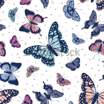 Sticker Motif de papillons de vecteur. Abstrait sans soudure.