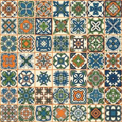 Sticker Motif de patchwork sans couture, tuiles, ornements