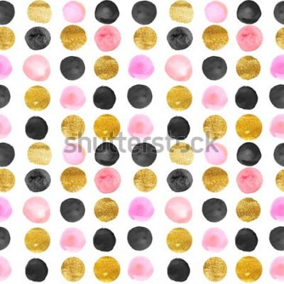Sticker motif de points dorés et roses. aquarelle dessinée à la main