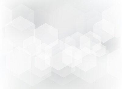 Sticker Motif de superposition abstrait géométrique hexagone sur fond blanc et gris.