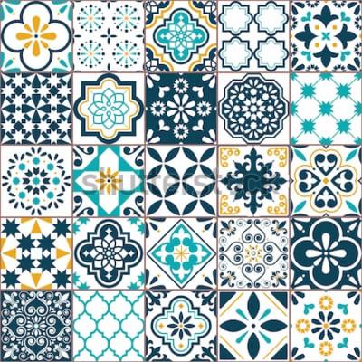 Sticker Motif de vecteur de carreaux Azulejo géométrique de Lisbonne, mosaïque de carreaux anciens rétro portugais ou espagnol, méditerranéen transparente conception turquoise et jaune. Fond textile d'orn