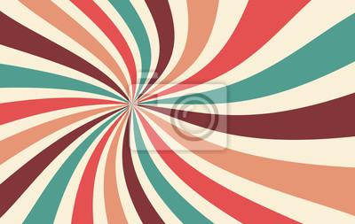 Sticker motif de vecteur de fond rétro starburst ou sunburst avec une palette de couleurs vintage de sarcelle de pêche rose rouge bleu marron et beige dans un motif rayé radial en spirale ou tourbillonnant