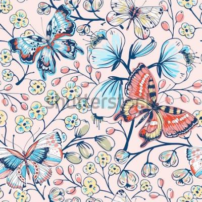 Sticker motif floral de vecteur avec fleurs et papillons vintage