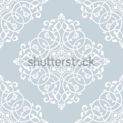 Sticker Motif floral. Papier peint baroque, damassé. Fond vectorielle continue Ornement bleu et blanc