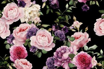 Sticker Motif floral sans couture avec des roses, aquarelle
