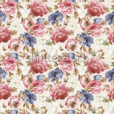 Sticker Motif floral sans couture avec pivoines, aquarelles