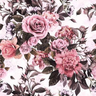 Sticker Motif floral sans couture avec roses roses et pivoines sur fond aquarelle.