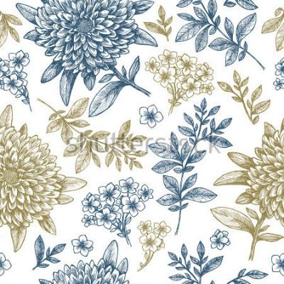 Sticker Motif floral sans soudure. Éléments de fleur style fragmentaires linéaire. Conception de tissu vintage. Illustration vectorielle
