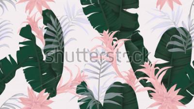 Sticker Motif floral sans soudure, feuilles de banane vertes, plante rose Bromeliaceae et feuilles de palmier sur fond gris clair, thème vintage pastel
