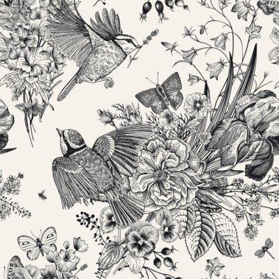 Sticker Motif floral sans soudure. Seins, fleurs, papillons. Illustration botanique vintage de vecteur. Noir et blanc