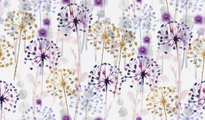 Sticker Motif floral sauvage aquarelle transparente dans le style de peinture à la main, papier peint de fleurs délicates