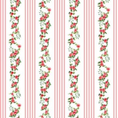 Sticker Motif floral style rétro avec des rayures
