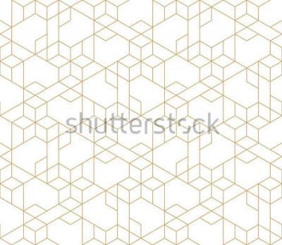 Sticker Motif géométrique abstrait avec traversée de fines lignes dorées sur fond blanc. Rapport linéaire sans faille. Texture fractale élégante. Motif de vecteur pour remplir le fond, gravure au laser et