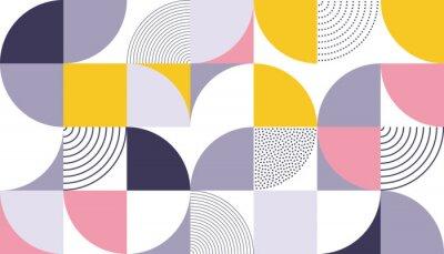 Sticker Motif géométrique de fond de vecteur avec la couleur abstraite scandinave ou la géométrie suisse imprime de design de forme de rectangles, de carrés et de cercles