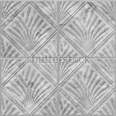 Sticker Motif géométrique sur la texture transparente de carreaux de céramique et de marbre, illustration 3d