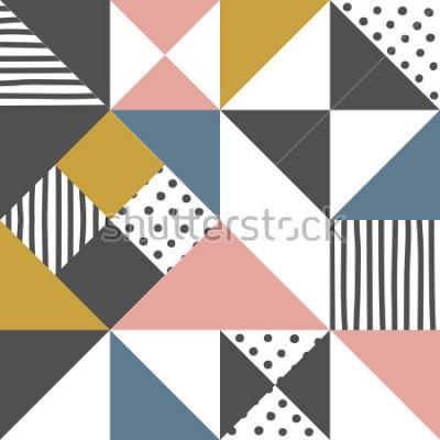 Sticker Motif géométrique. Triangle abstrait avec bande dessinée à la main et pois illustration vectorielle.