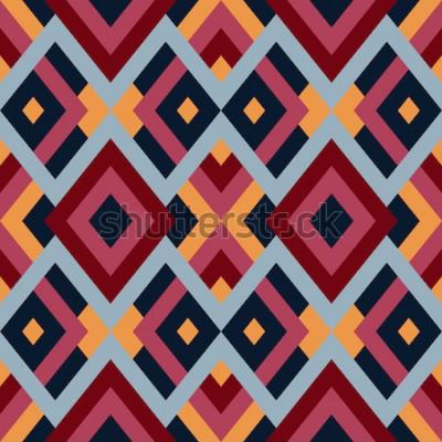 Sticker Motif géométrique vectorielle continue avec des triangles et des carrés. Abstrait sans fin pour la conception en couleurs rouge, bleu et jaune