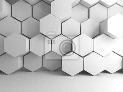 Motif hexagonal blanc sur le mur avant, 3d