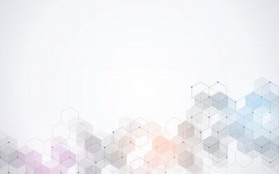 Sticker Motif hexagones. Abstrait géométrique avec des éléments hexagonaux simples. Conception médicale, technologique ou scientifique.
