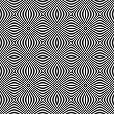 Sticker Motif noir et blanc psychédélique circulaire Textile.