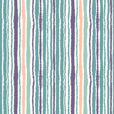 Sticker Motif rayé sans couture. Lignes étroites verticales. Papier déchiré, déchiqueter la texture du bord. Bleu, blanc, orange doux. Vecteur