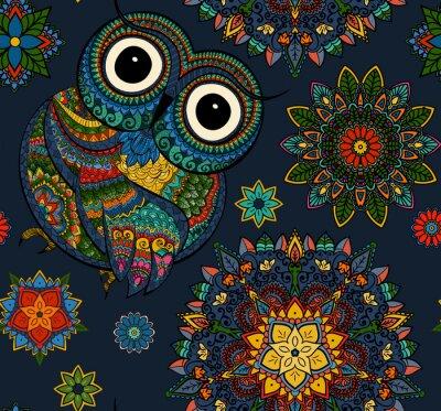 Sticker Motif sans couture de hibou de couleur ornementale avec des fleurs et mandala. Africain, indien, totem, conception de tatouage. Il peut être utilisé pour la conception d'un t-shirt, un sac, une carte