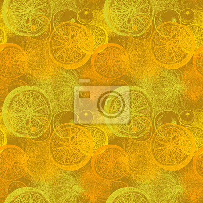 Motif sans coutures avec des oranges dessinées à la main. Dessin de plume,