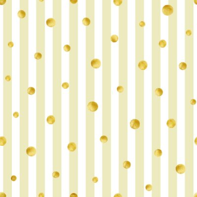 Sticker Motif sans soudure avec des cercles dorés peints à la main. Modèle de point de polka d'or