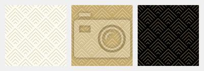 Sticker Motif sans soudure chevron abstrait vague fond stripe or luxe couleur et ligne. Vecteur de ligne géométrique. Fond de Noël