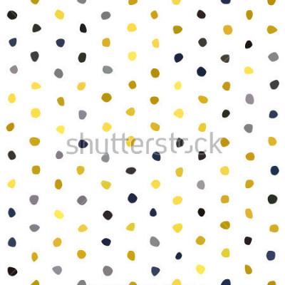 Sticker Motif sans soudure de pois jaune moutarde bleu marine gris sur fond blanc. Texture de pierre polygone rond. Vecteur abstrait pour impressions, textile, emballage, tissu, paquet, couverture, carte de v