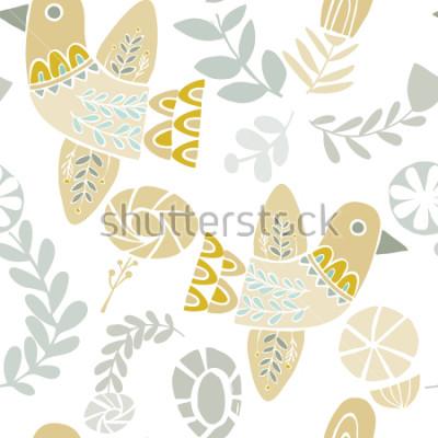 Sticker Motif sans soudure de vecteur d'oiseaux et de fleurs folkloriques pastel sur fond blanc. Idéal pour l'artisanat, les tissus, le papier d'emballage, le papier peint