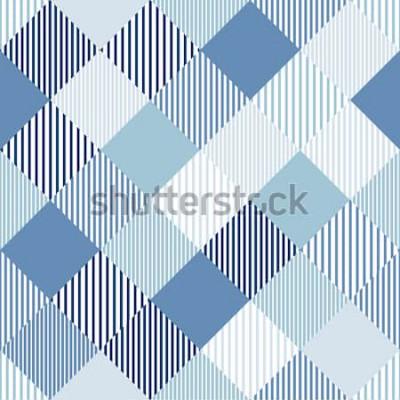 Sticker Motif sans soudure géométrique rayé simple damier abstrait bleu et blanc, vector