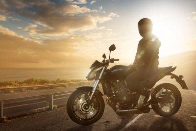 Sticker Motorbike on an Ocean Road