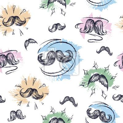Moustaches texture. Moustache. Seamless pattern.