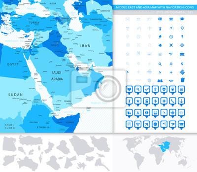 Moyen-Orient et Asie Carte avec icônes de navigation
