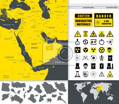 Moyen-Orient Et Asie Carte Et Technologie nucléaire Icônes