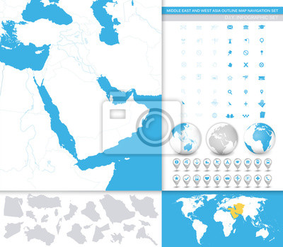 Moyen-Orient et Asie Contour Map