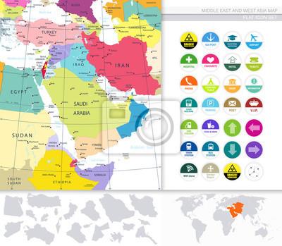Moyen-Orient Et Asie De L'Ouest Carte Et Icônes Plat