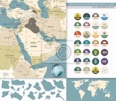 Moyen-Orient et Asie de l'Ouest carte rétro couleurs