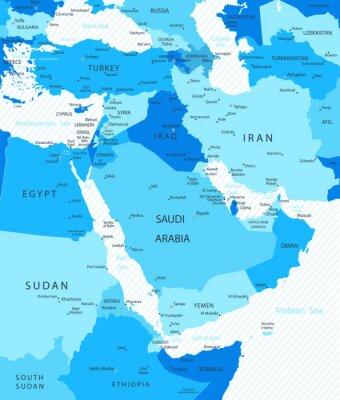 Moyen-Orient et Asie Map Blue Colors Map