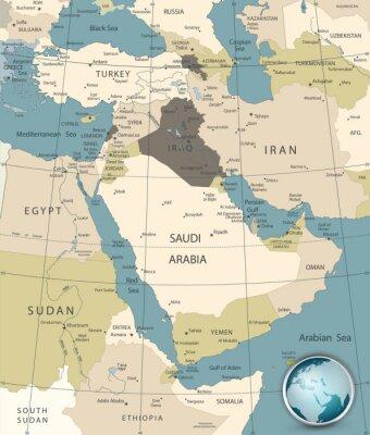 Moyen-Orient et Asie occidentale Carte Vieilles couleurs
