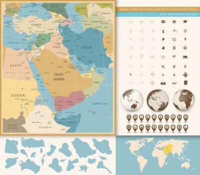 Moyen-Orient et Asie occidentale Carte Vintage Couleurs