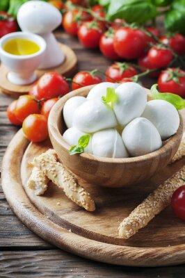 Sticker Mozzarella italienne avec tomate et basilic