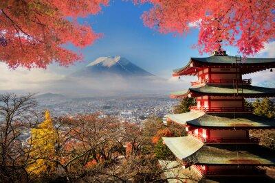 Sticker Mt. Fuji avec les couleurs d'automne au Japon.