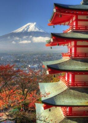 Sticker Mt. Fuji et feuilles d'automne à Arakura Sengen Shrine au Japon