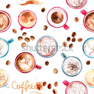 Sticker Mug à café motif peint à l'aquarelle sur fond blanc. La boisson et les bonbons. Aquarelles abstraites, traces de café.