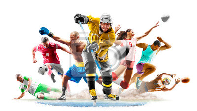 Sticker Multi sport collage football boxing soccer voleyball ice hockey running on white background